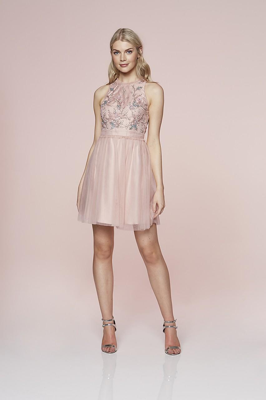 Beaded Bloom Tulle Dress